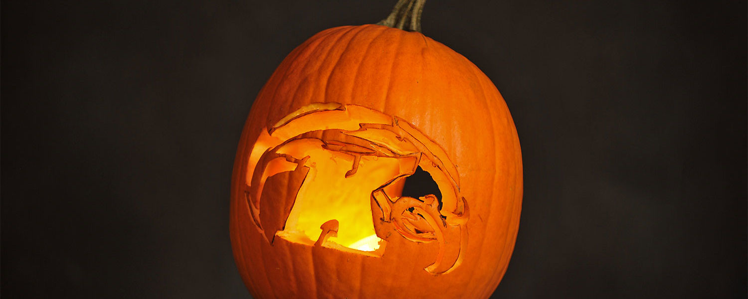Pictured is a closer view of a pumpkin carved using a portion of the Flash Ghost template.