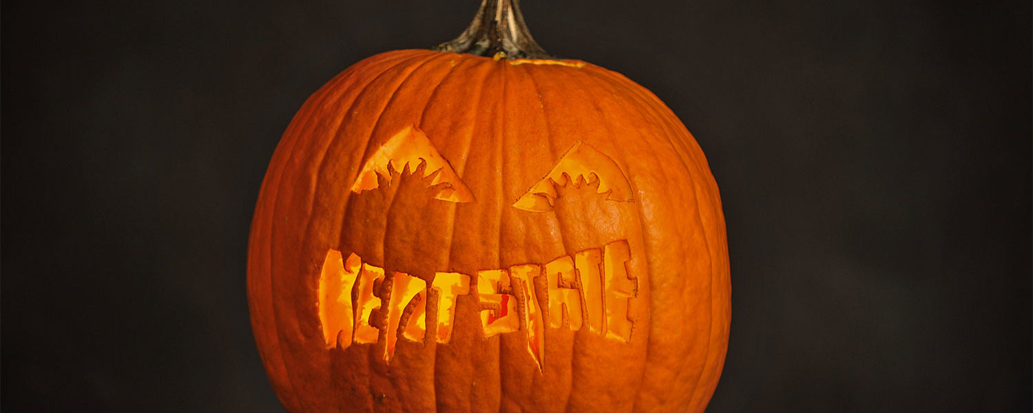 Shown is a closer view of a pumpkin carved using the KSU Vampire template.