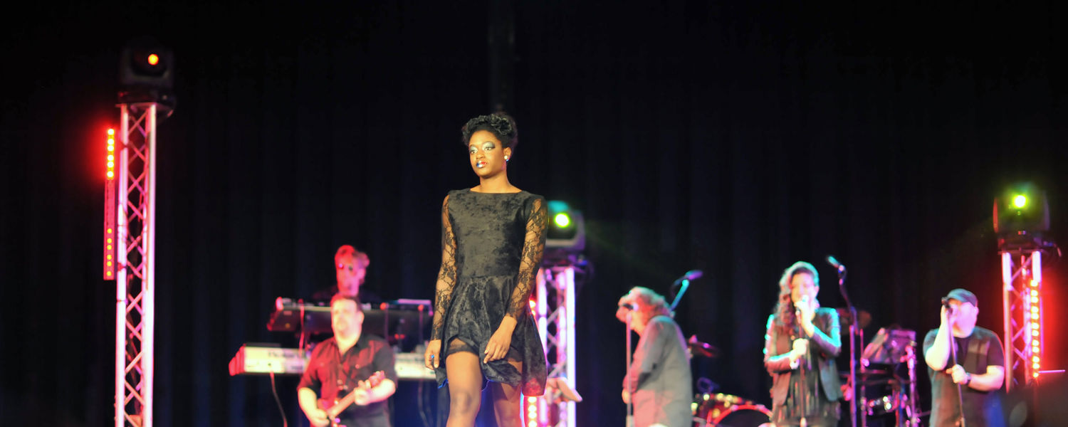 A model showcases one of last year's lines in front of a packed Kent Student Center Ballroom for Rock the Runway. (Photo credit: Thomas Farmer Photography)