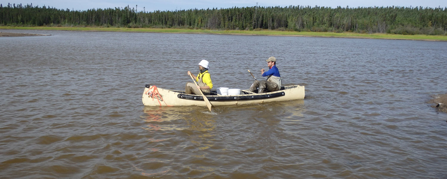 Raissa Mendonca and Dave Costello canoe to their study site in Thompson Lake in Manitoba, Canada.