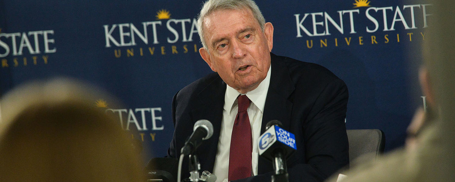 Renowned journalist Dan Rather speaks to the media at Kent State's May 4 Visitors Center.