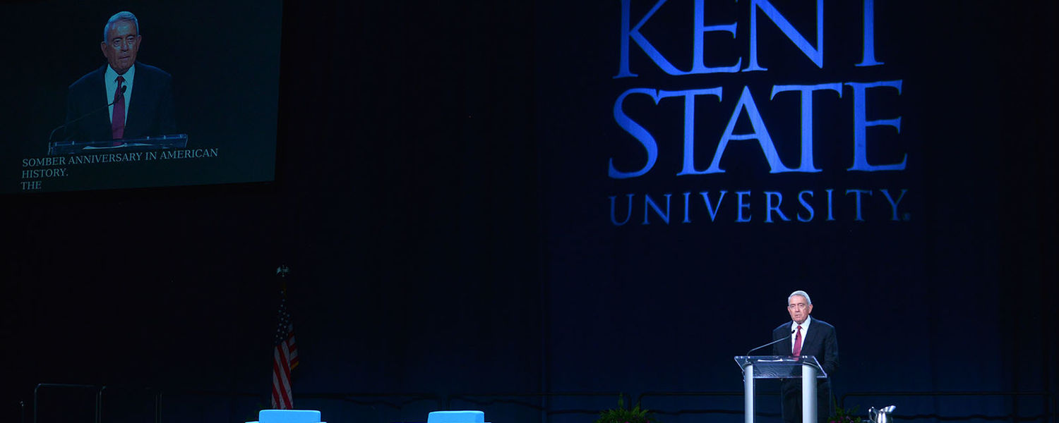Dan Rather speaking at Kent State