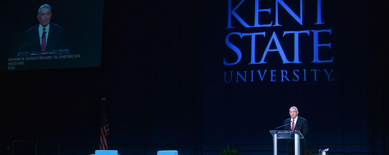 Dan Rather speaking at Kent State