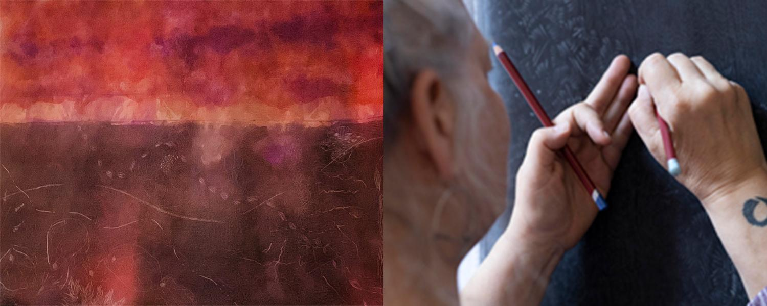 Drawings on silk by Rebecca Cross - a finished piece on the left and the artist in process on the right