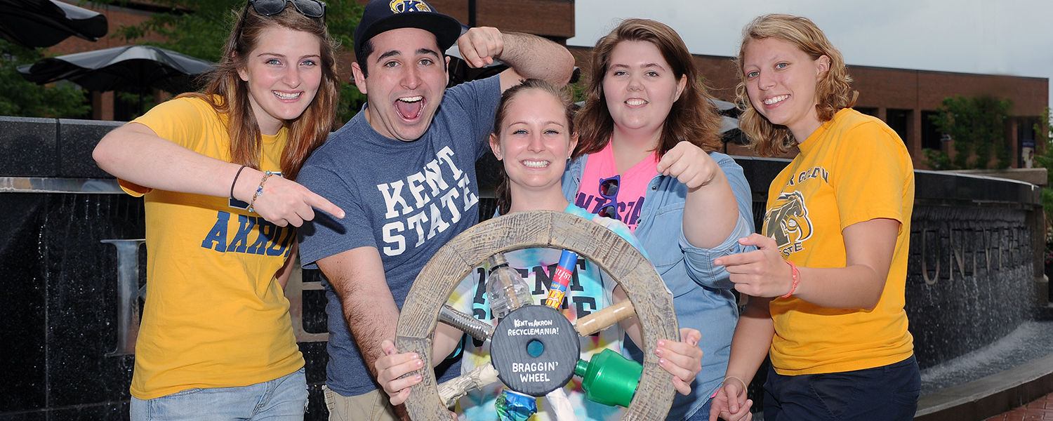 Kent State students are rewarded after making use of the university's recycling bins around campus during this year's RecycleMania. Once a student recycled a product, they received a prize from the RecycleMania Committee.
