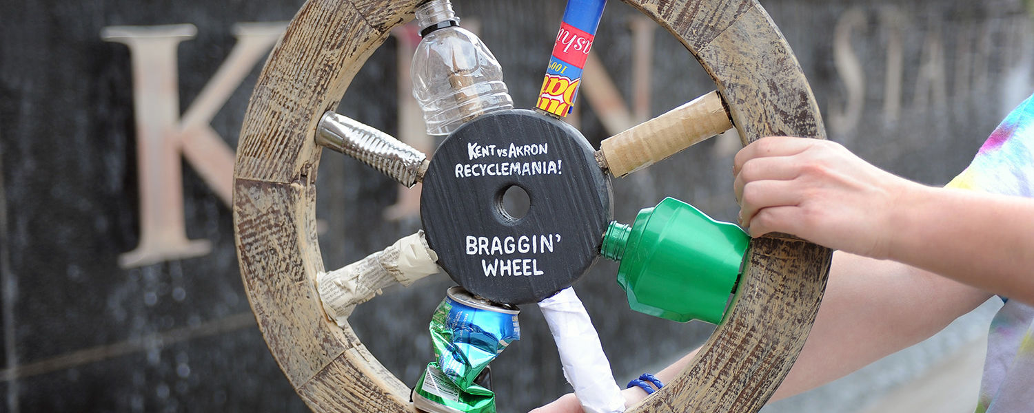 Kent State retains possession of the Braggin' Wheel for a second consecutive year in a RecycleMania contest against the University of Akron.