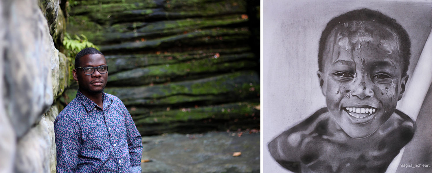 Richard Agbeze (grad student) portrait and an image of his artwork, a realistic pencil drawing of a boy