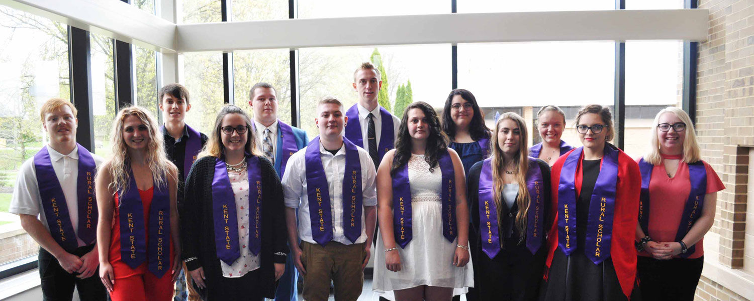 The 2019 Kent State Rural Scholars graduates participating in the graduation ceremony.