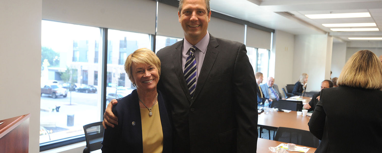Kent State President Beverly Warren joins U.S. Rep. Tim Ryan for a discussion about transportation issues and funding in the Portage Area Regional Transportation Authority's Kent Central Gateway multimodal transit center.