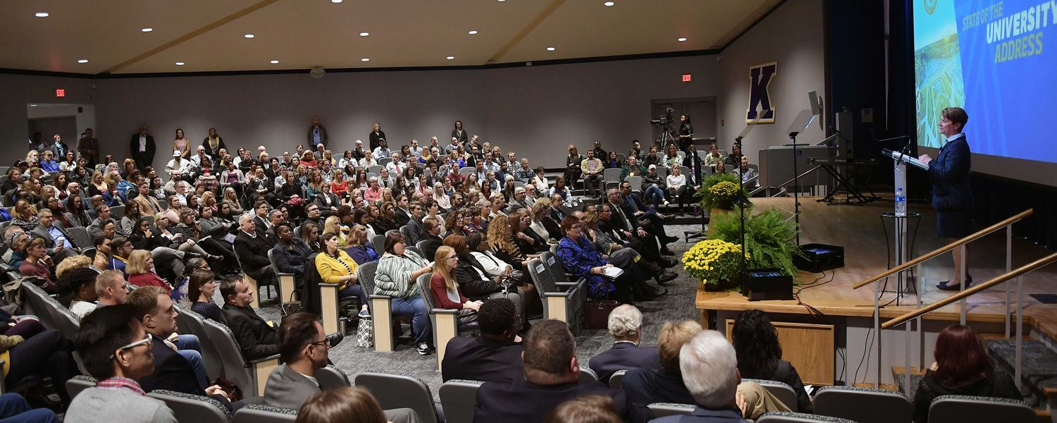 Kent State President Beverly J. Warren delivers the 2018 State of the University Address in the Kent Student Center Kiva.