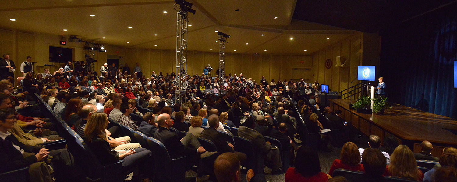 A capacity crowd filled the Kent Student Center Kiva for Kent State President Beverly Warren's first State of the University address.