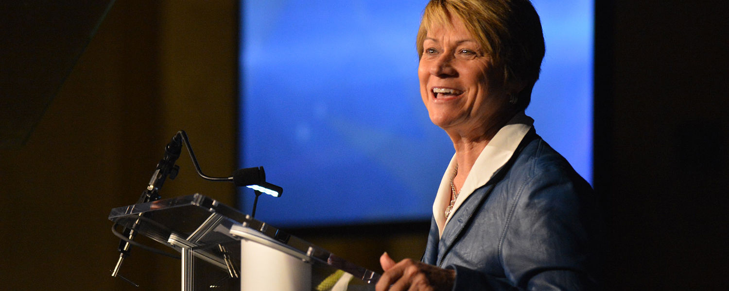 Kent State President Beverly Warren delivers her first State of the University address in the Kent Student Center Kiva.