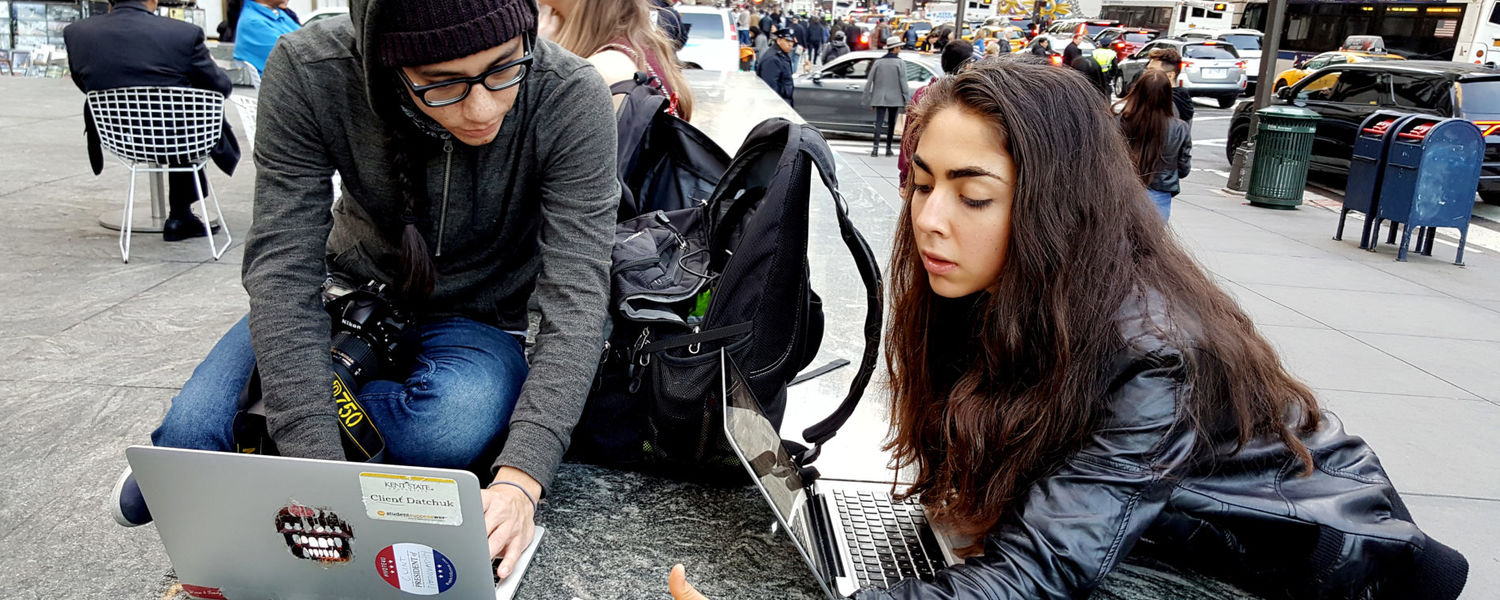 Kent Stater students from the School of Journalism and Mass Communication work in New York City covering Election Day. (Photo credit: Sue Zake)