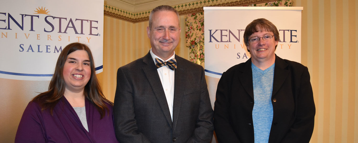 Receiving the Campus Excellence Awards at Kent State University at Salem were (from left) Maegan Richards, Dr. Daniel Dankovic and Dr. Louise Steele.