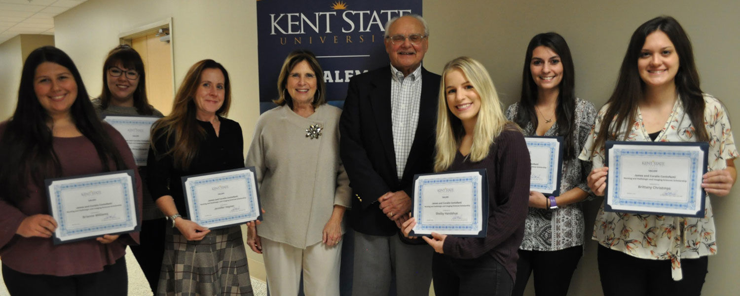Honored with the James and Coralie Centofanti Nursing and Radiologic and Imaging Sciences Scholarship were (from left) Brianne Williams, Ayla Mroczkowski, Jennifer Hayner, Marsha and Joe Centofanti, Shelby Handshue, Alexis Ludwig and Brittany Christmas.