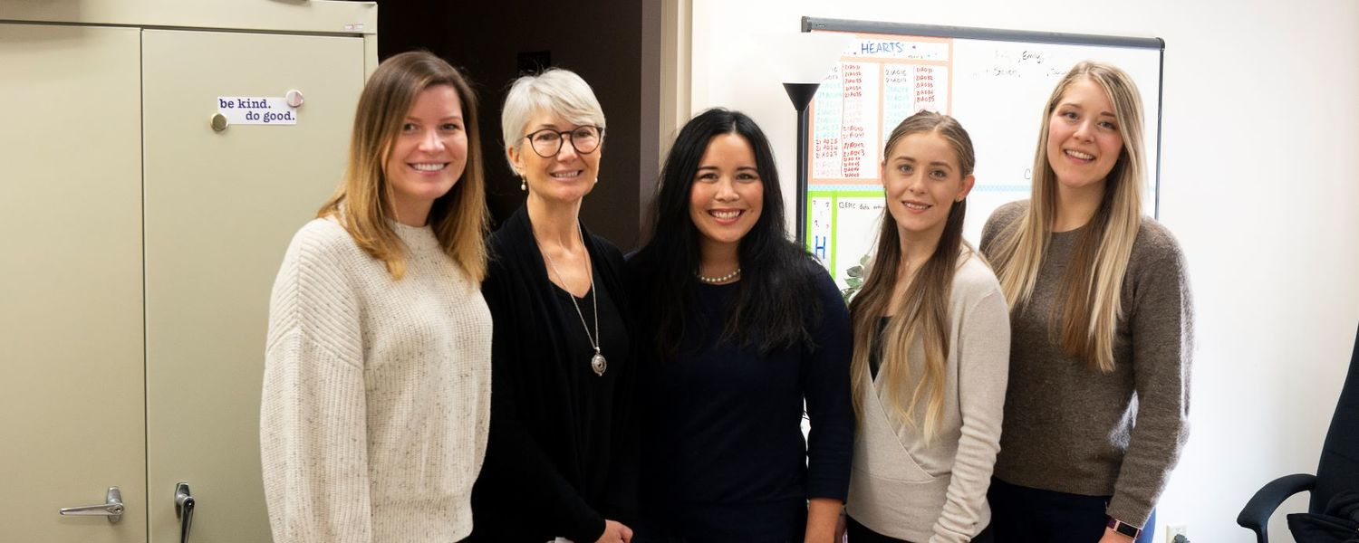 Associate Professor Amy Sato's Research Team, includes from left, doctoral student Kara Hultstrand, visiting professor Giane Bientinez Sprada, Sato, and doctoral students Clarissa Shields and Caroline West