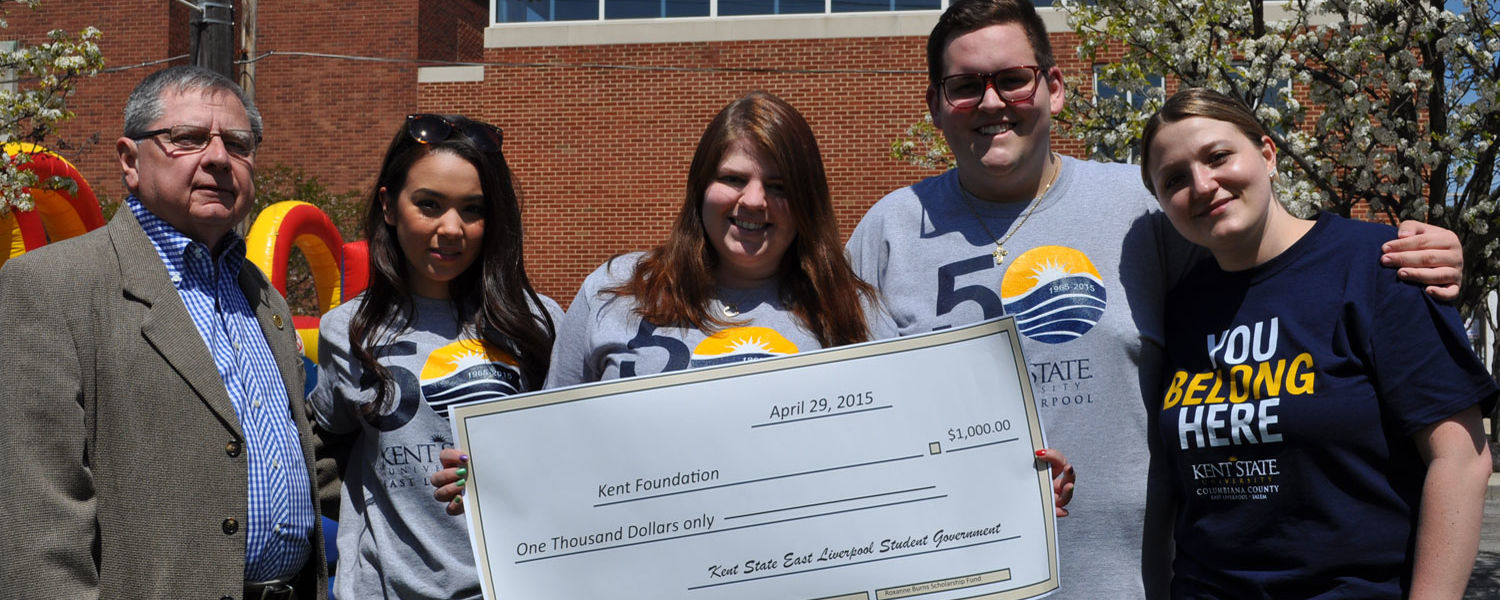 Kent State University at East Liverpool's CoSO presented a check for $1,000.