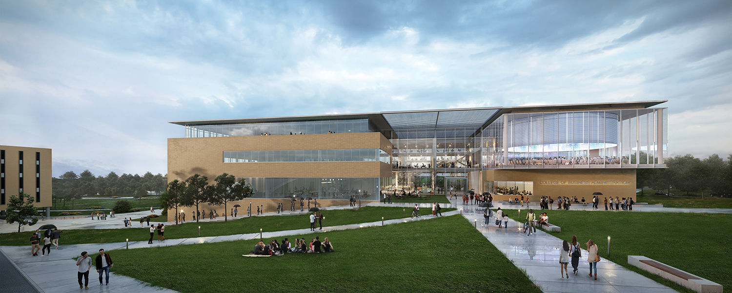The Signet Real Estate Group Team's proposed exterior rendering of Kent State's new College of Business Administration building was presented by Michael Muse of The Collaborative Inc. and Dave Diamond of Perkins+Will.