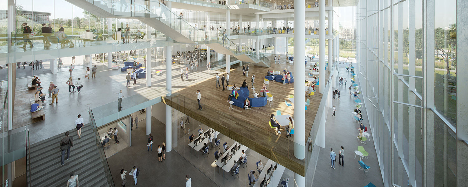 The Signet Real Estate Group Team's proposed interior rendering of Kent State's new College of Business Administration building was presented by Michael Muse of The Collaborative Inc. and Dave Diamond of Perkins+Will.
