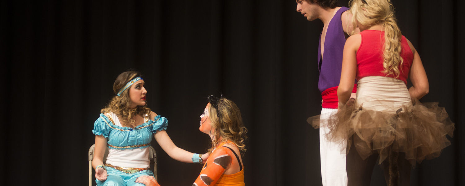 """Phi Mu, Alpha Tau Omega and Phi Sigma Kappa open the night with their performance """"Aladdin,"""" a tribute to Robin Williams, at this year's Songfest."""