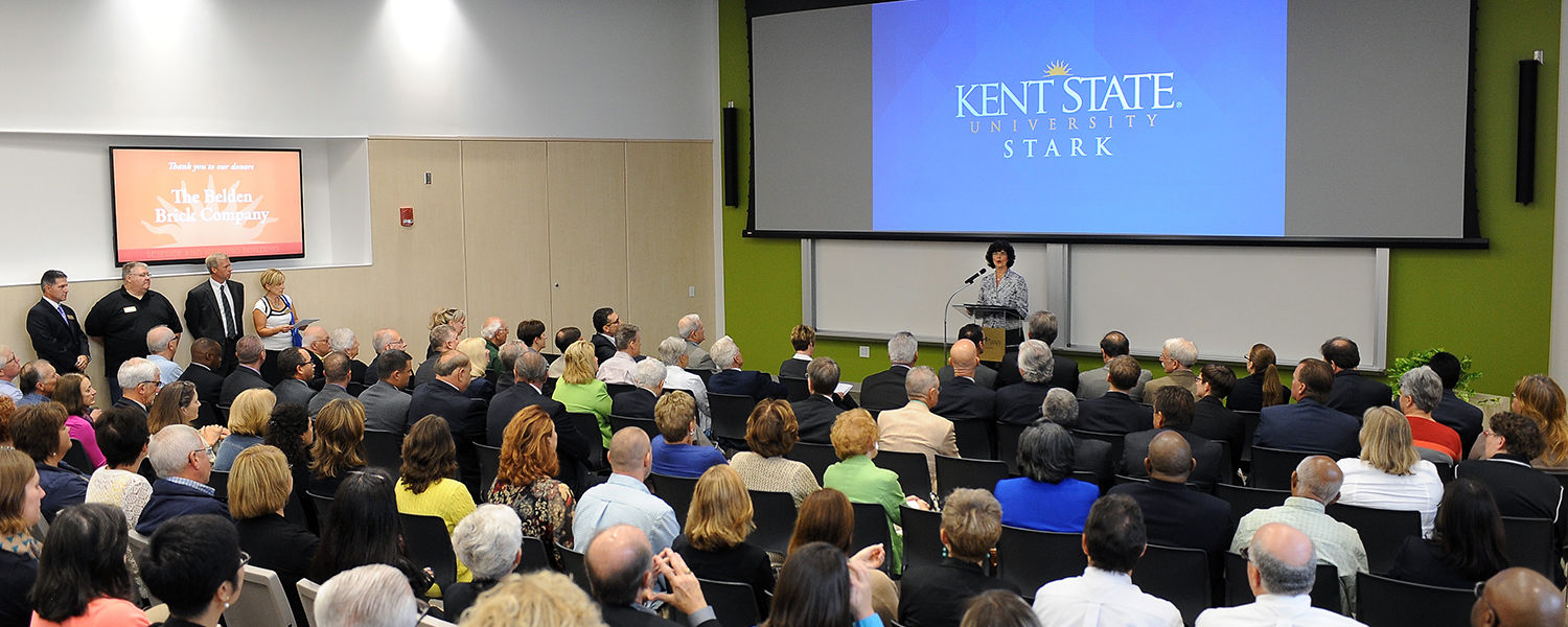 Kent State Stark Interim Dean Denise Seachrist welcomes guests to the official opening of the new Science and Nursing Building.
