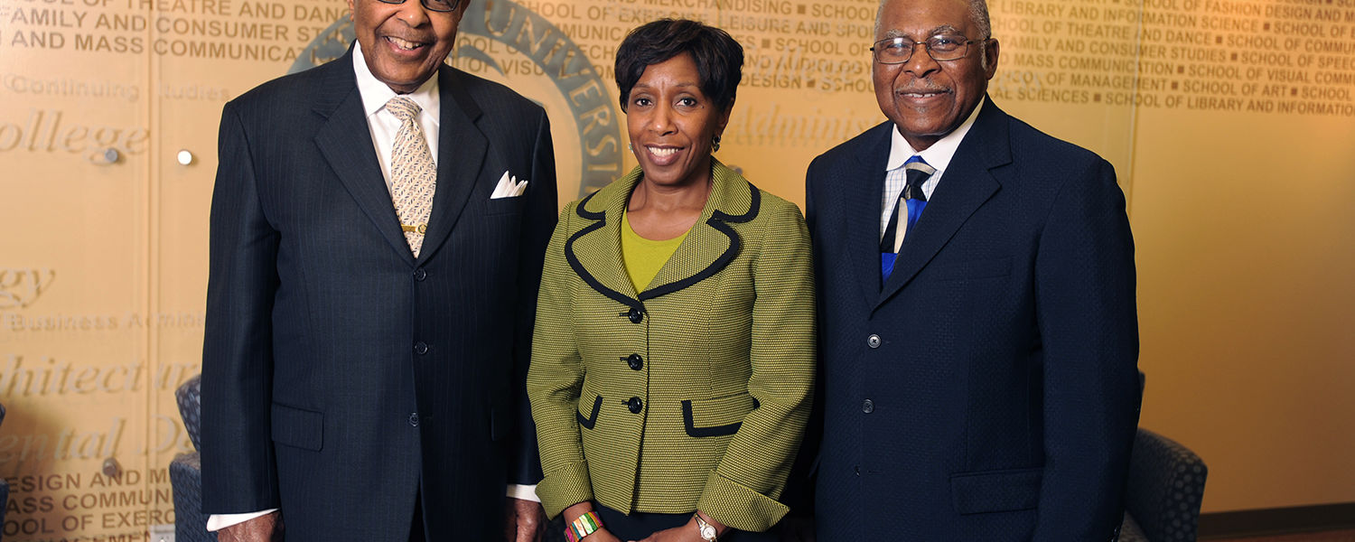 (From left to right) Former U.S. Rep. Louis Stokes, Kent State Vice President for Diversity, Equity and Inclusion Alfreda Brown and Rev. Ronald J. Fowler, former special assistant to the university president for community engagement, pose for a photo.