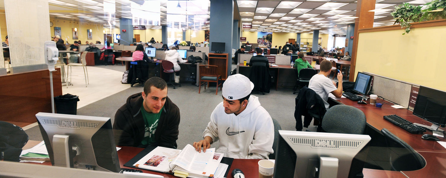 Kent State students study and work on their class assignments in a computer lab in the library.