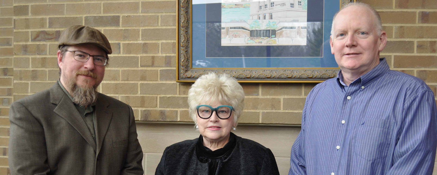 Honored by Kent State University were three faculty members from the Salem Campus (from left): Dr. Andrew Pfrenger, Ruth Ann Mullen and Tim McFadden