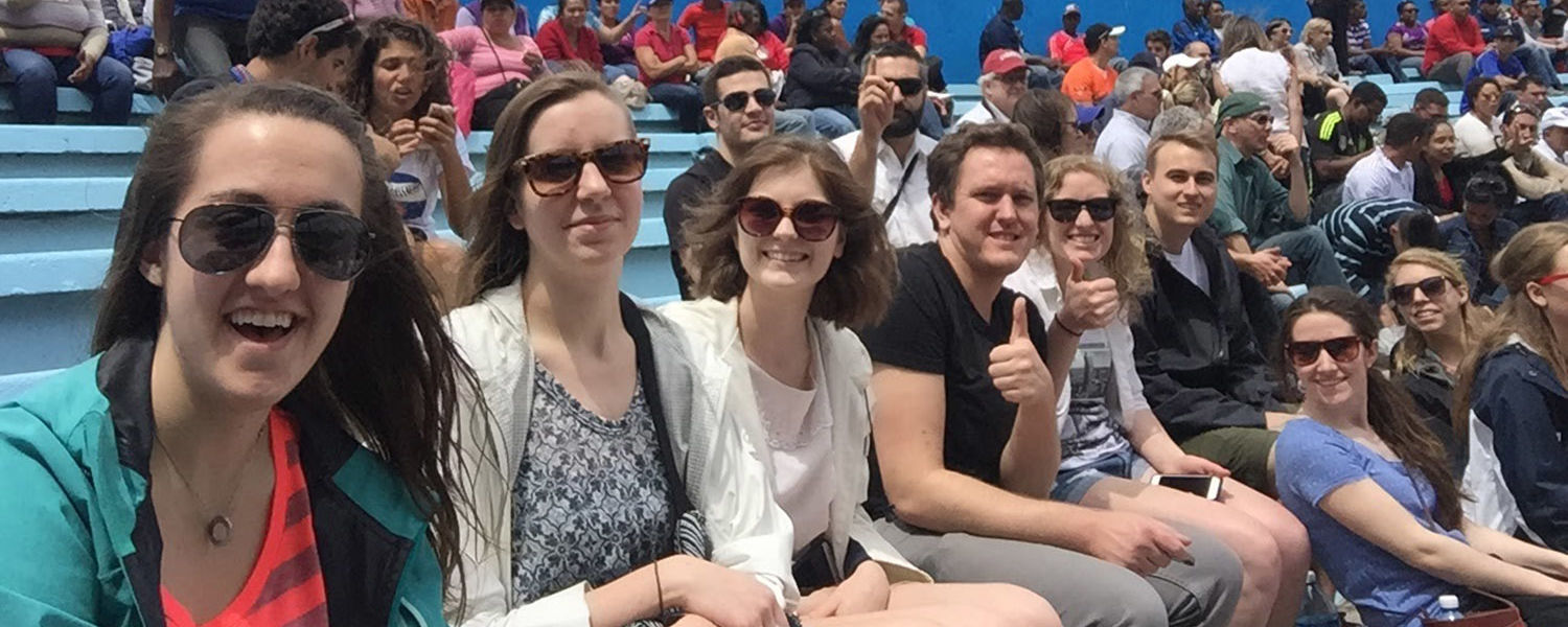 Kent State architecture and urban design students watch a baseball game in the same stadium as President Barack Obama during his historic trip to Cuba. (Photo credit: Kent State's Cleveland Urban Design Collaborative)