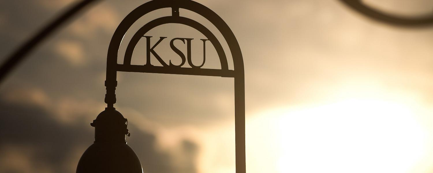 The sun sets behind a KSU lamp post on Kent Campus, giving off a golden glow.