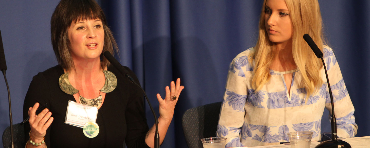 Suzy D'Enbeau (left), assistant professor in the School of Communication Studies (COMM), and COMM alumna Allyssa Griffiths spoke about cyber-stalking and sexual violence trauma.