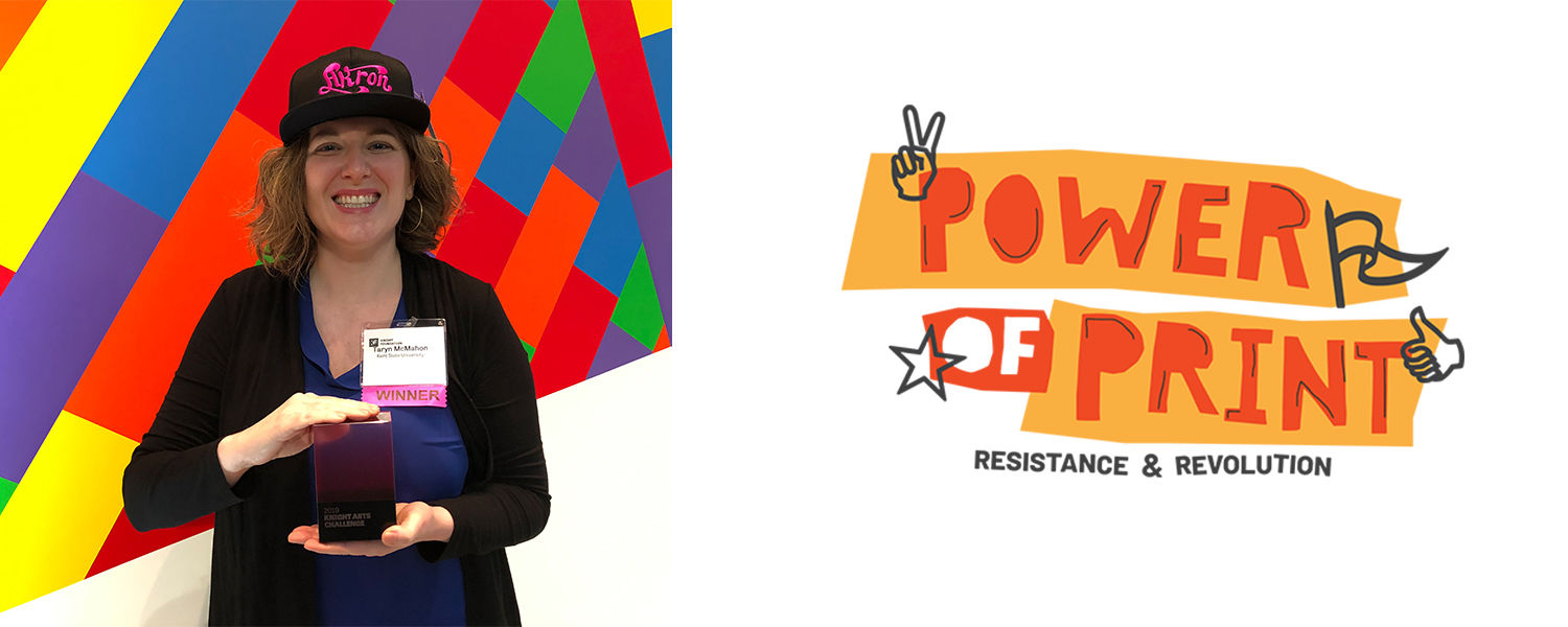 Taryn McMahon with Knight Arts Challenge Award for Power of Print: Resistance and Revolution conference in 2020