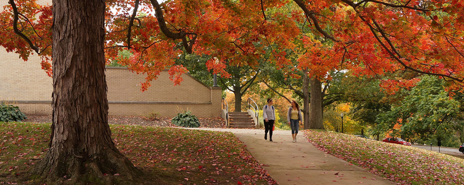 Two Kent State students walk under a tree in full color near Merrill Hall.
