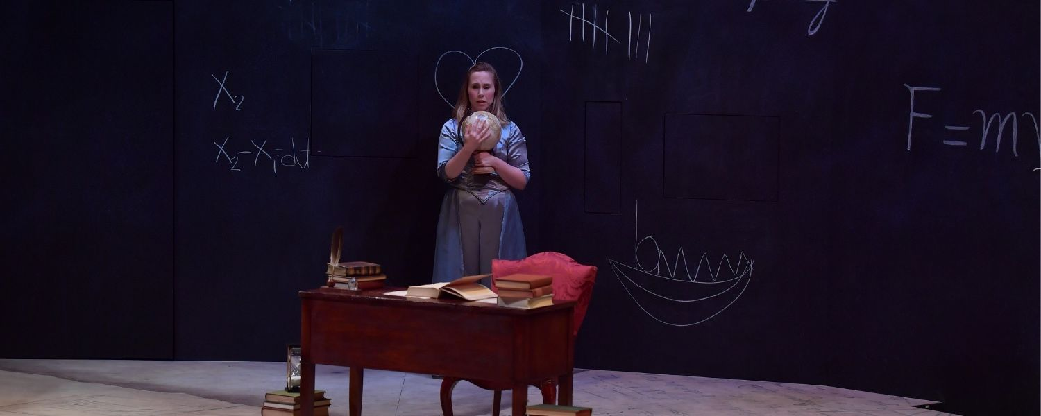 "An MFA Acting candidate performs in ""Emilie: La Marquise du Chatelet Defends Her Life Tonight"""