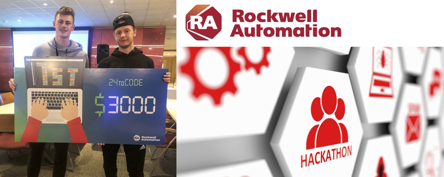 Rockwell Automation Text Logo, Two students whiling their hackathon award, hackathon stock image.