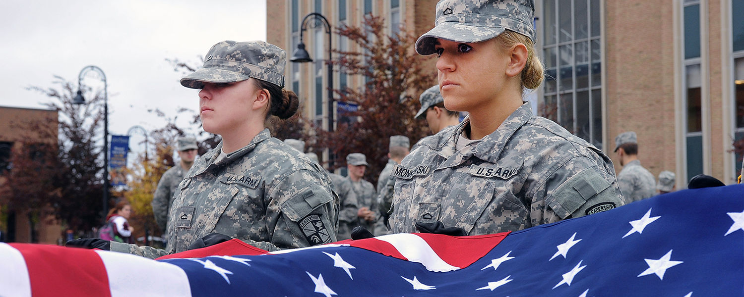 Members of the Kent State ROTC detachment prepare to fly the American flag during last year's Veterans Day observance.