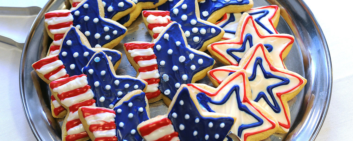 Patriotic cookies were available at the reception in the lobby of the Kent Student Center Kiva that followed the Veterans Day observance.