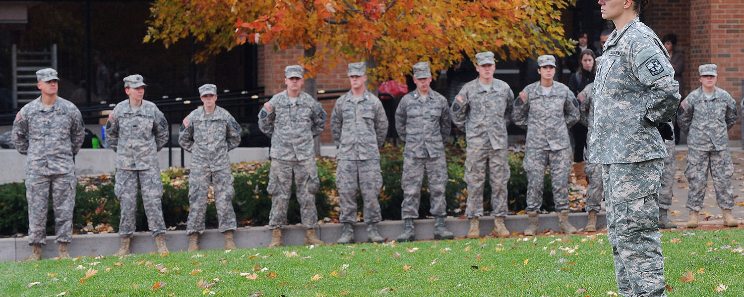 Kent State ROTC students line up in formation for the university's annual Veterans Day observance on Risman Plaza.