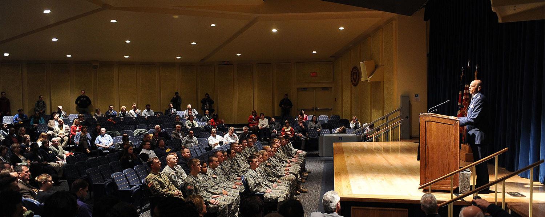 "Retired U.S. Col. Richard ""Rex"" Ray addresses those attending the university's annual Veterans Day observance held in the Kent Student Center Kiva."