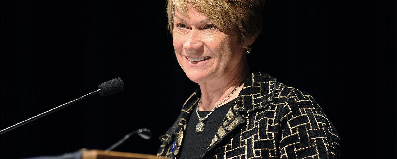 Kent State President Beverly Warren addresses those attending the university's annual Veterans Day observance.