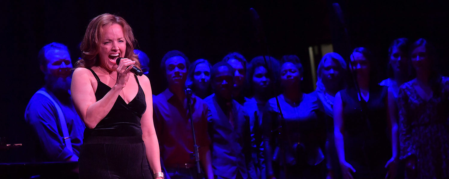 """Kent State University School of Theatre and Dance and Porthouse Theatre alumna – the Tony Award-winning Broadway performer Alice Ripley – performs songs from The Who's """"Tommy"""" with senior musical theatre students at the 50th Anniversary Blossoming Gala."""