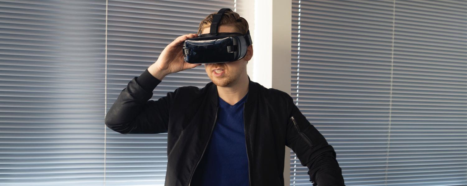 Man wearing a virtual reality headset