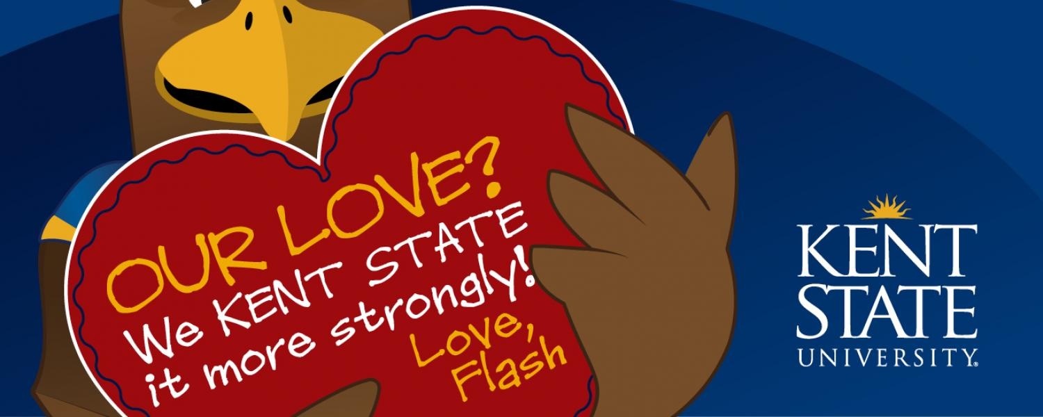 """Graphic of cartoon Flash holding a red Valentine that says """"Our Love? We Kent State it more strongly! Love, Flash"""""""