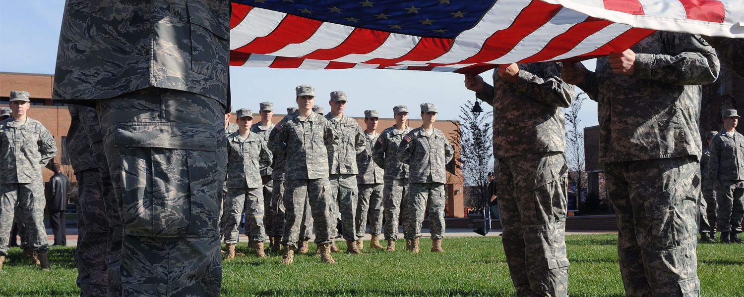 Members of Kent State's ROTC post the colors during the university's observance of Veteran's Day