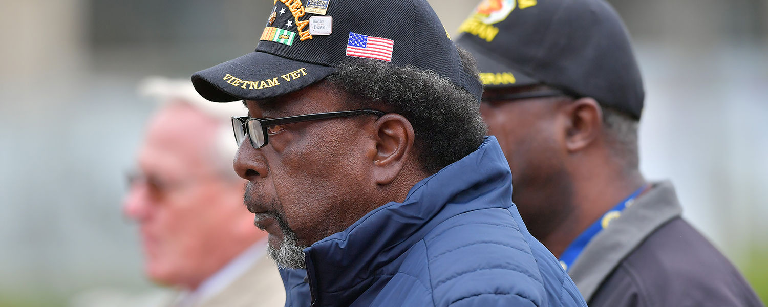 Vietnam Veterans were honored during Kent State's 2016 Veterans Day observance on the Student Green at Risman Plaza.