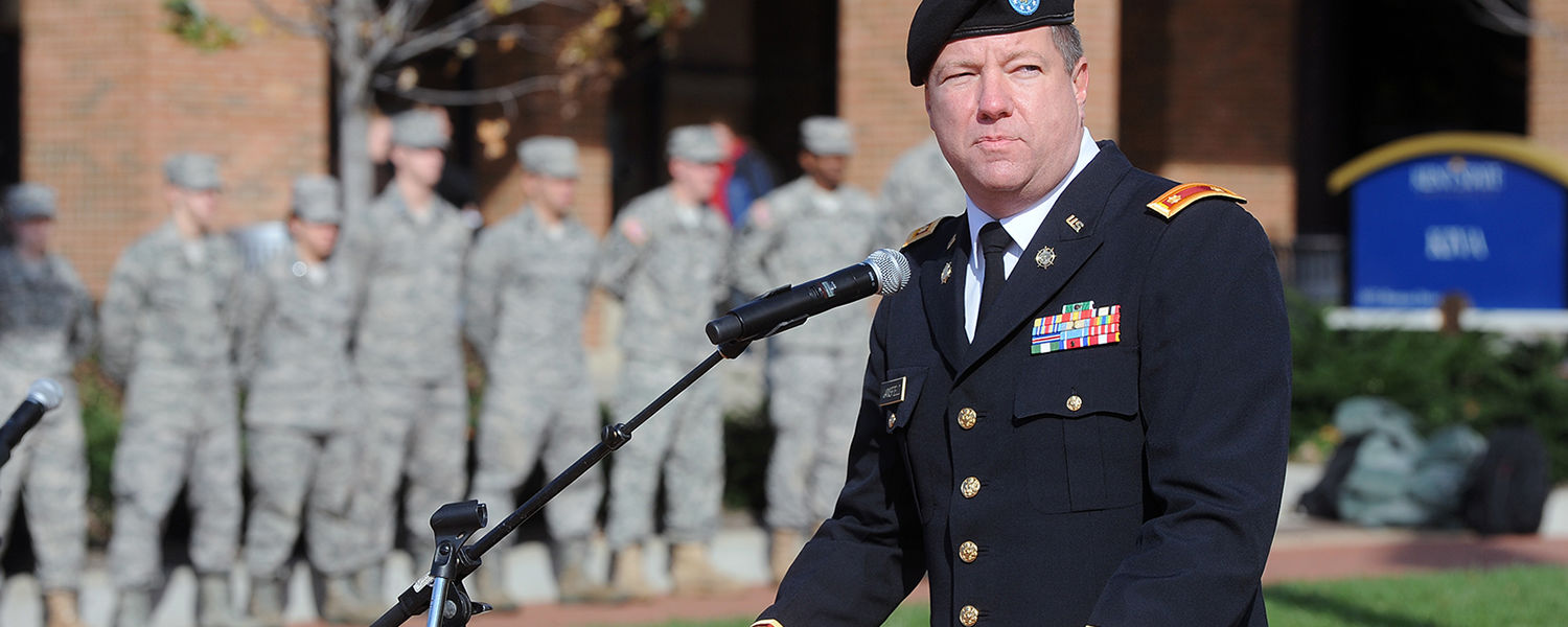 Kent State employee and former Cleveland journalist Eric Mansfield gave brief remarks during the annual Veteran's Day ceremony, on Risman Plaza. Mansfield is a retired major with the Ohio Army National Guard and served in Iraq and Kuwait.