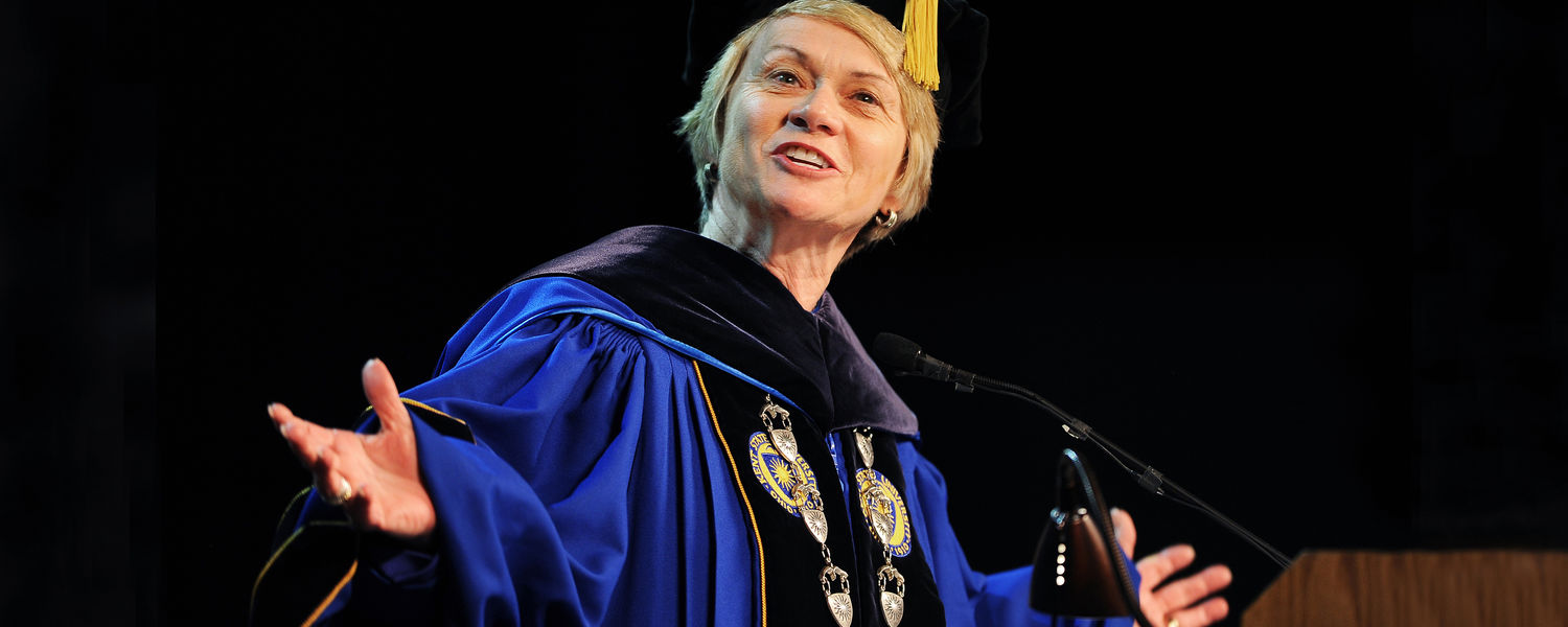 Kent State President Beverly Warren welcomes the incoming class at Convocation during last year's Welcome Weekend.