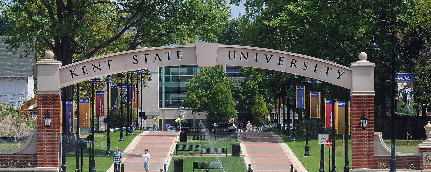 Visitors begin sightseeing on the new extension of the Kent State University   Esplanade, across the street from the Kent State University Hotel and Conference Center.