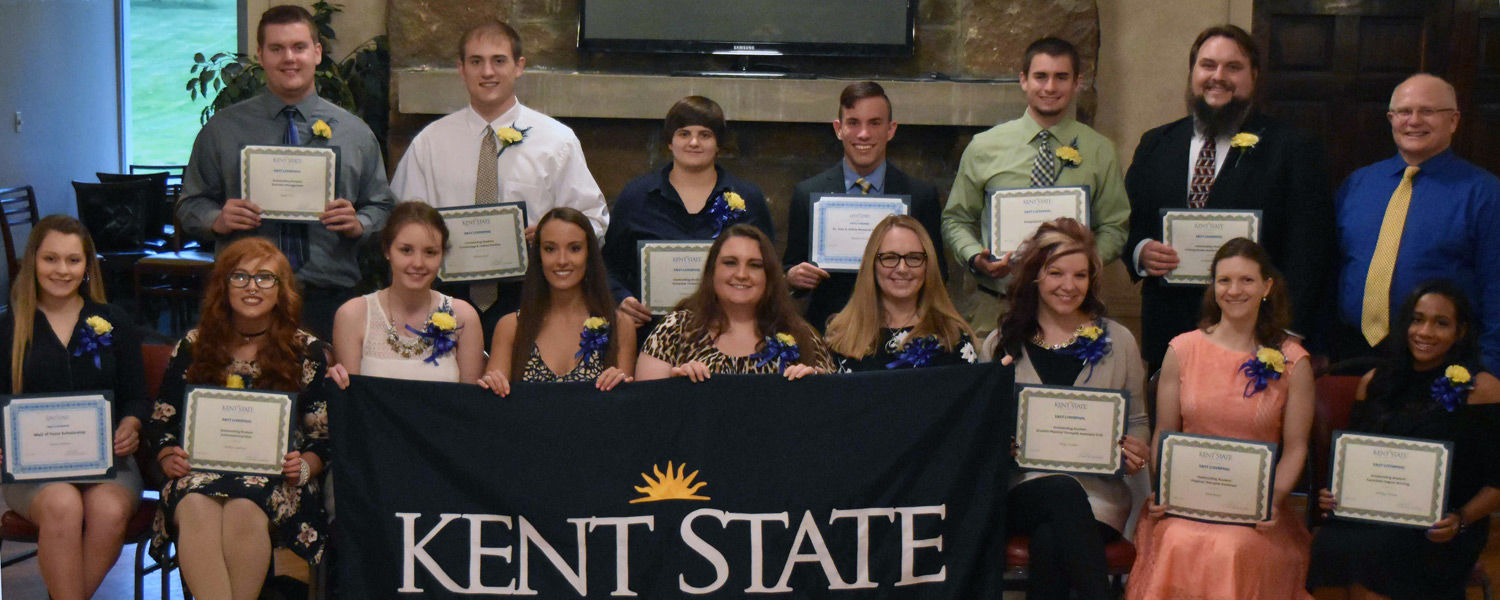 Honorees at the 2017 Wall of Fame and Honors Banquet for Kent State East Liverpool