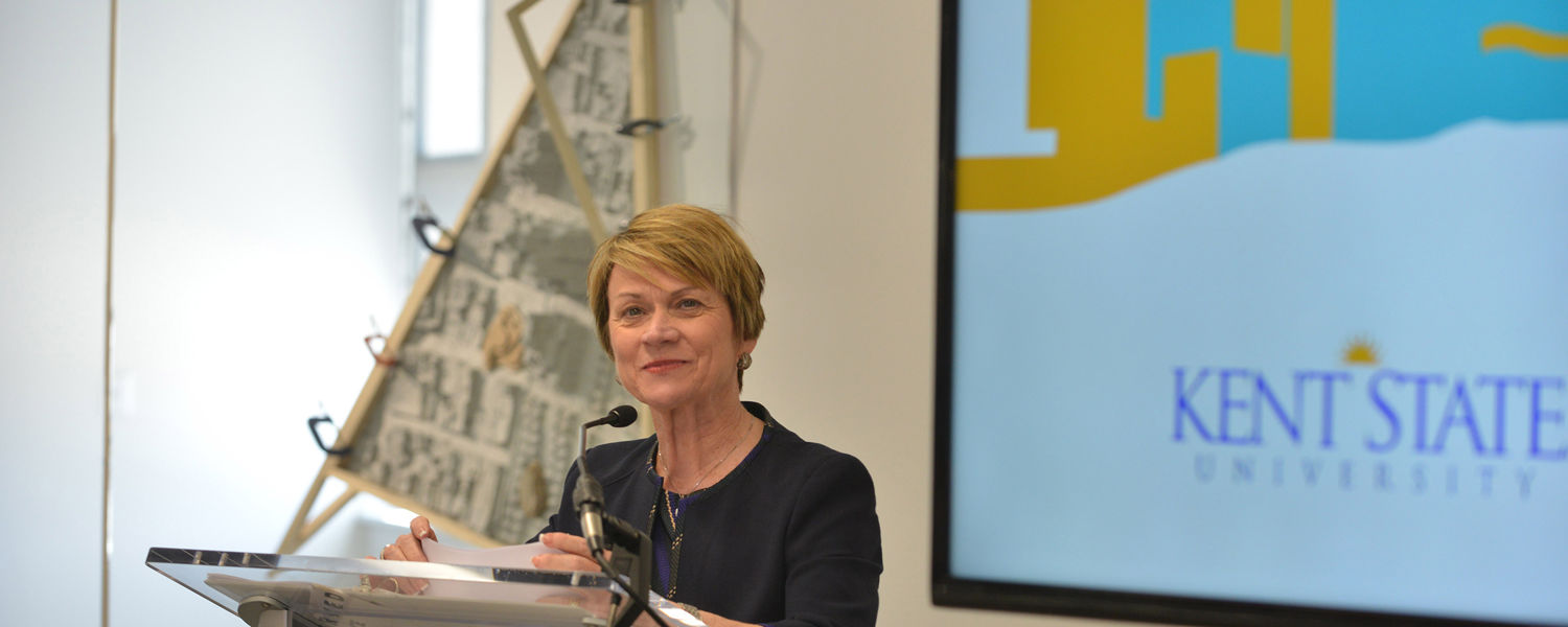 Kent State President Beverly Warren speaks during the grand opening celebration for the Center for the Visual Arts.